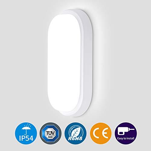 Oeegoo LED Deckenleuchte 12W, 960lm Wasserfest Deckenlampe, IP54 Flimmerfreie led Badezimmerlampe für Zimmer, Keller, Diele, Flur, Balkon, Werkstatt, 4000K
