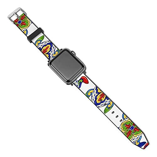 Tortugas mexicanas Tradicional Compatible con Apple Watch Band 38 mm 40 mm Correa de repuesto de cuero Correa de moda Compatible con iWatch Series 5 4 3 2 1