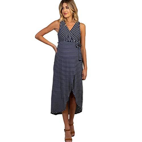 FWJ-clothes Umstandsmode für Frauen Umstandskleid Basic Maxikleid Asymmetrisches Etuikleid mit eleganten Streifen,Blau,M