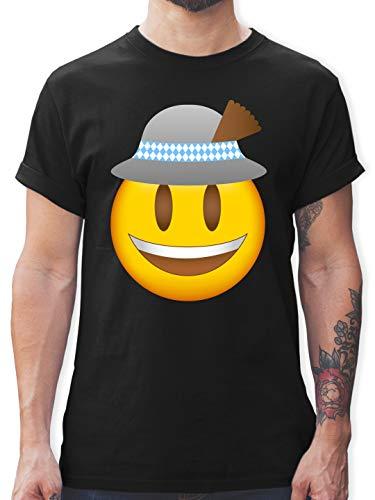 Kompatibel mit Oktoberfest Trachtenshirt Herren - Oktoberfest Emoticon mit Hut - XL - Schwarz - Geschenk - L190 - Tshirt Herren und Männer T-Shirts