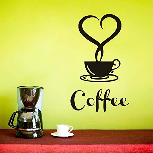 Niebla en forma de corazón Una taza de café Pegatinas de pared Vinilo removible Arte de la pared negro Tatuajes de cocina Wallpapers de pared Tienda Decoración para el hogar 26x44cm