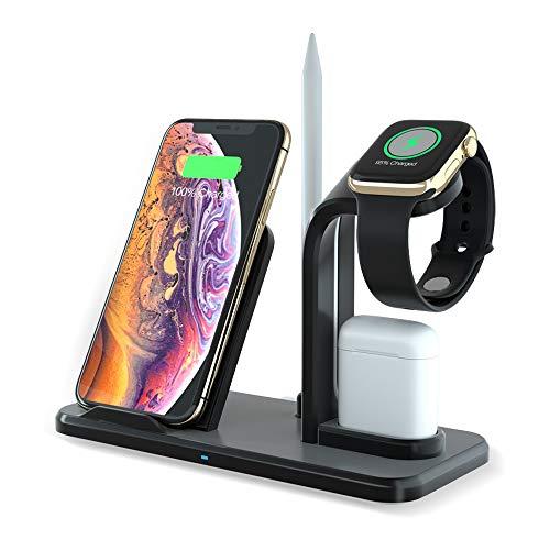 LUCKYDIY Caricabatterie wireless 3-in-1 Caricatore Induttivo QI Carica Veloce senza fili No Noise per iPhoneXs/Xs Max/XR/X / 8/8 Plus Apple Watch Series 4/3/2/1 Apple Airpods1 Generazione