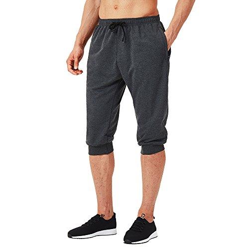 NAVISKIN Herren 3/4 Trainingshose atmungsaktiv Fitnesshose Dreiviertel Jogginghose weich Sporthose Regular Laufhose dunkelgrau Größe XL