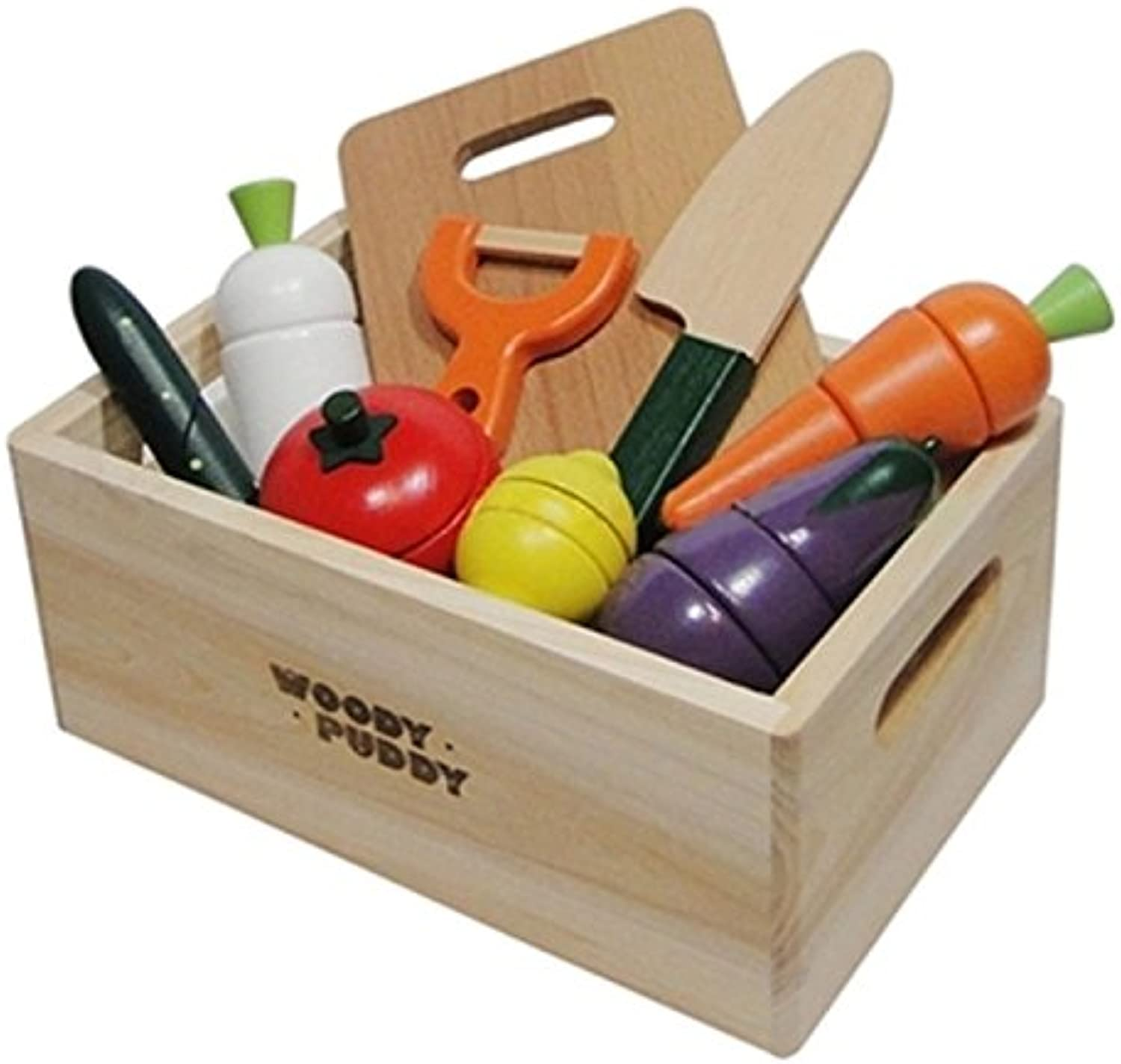 Dalino Baby Toys Wooden Simulation Puzzle Fruit & Vegetable Cutting Set Toy (colorful)