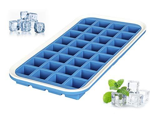 Levivo Silikon Eiswürfelform für 32 Eiswürfel, Antihaft Eiswürfelbehälter, Eiswürfelbereiter Blau, Eis Form 27 x 14 x 2,9 cm