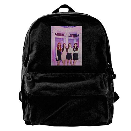 Yuanmeiju Canvas Laptop Backpack Waterproof School Bookbag for Men Women Black-Pink Lightweight Anti-Theft Outdoor Travel Daypack College Student Rucksack Fits Up to Computer