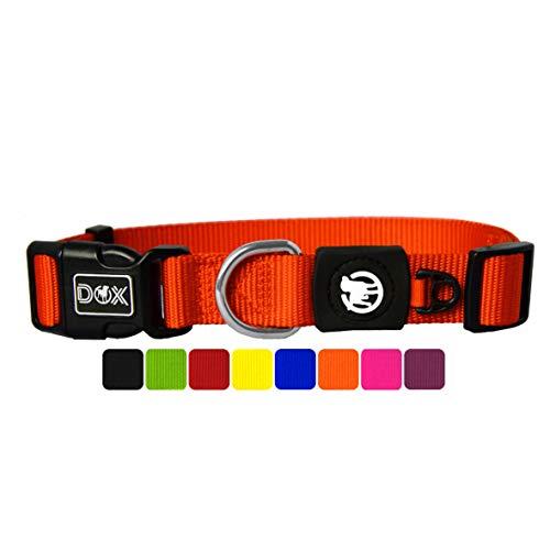 DDOXX Collar Perro Nylon, Ajustable | Muchos Colores & Tamaños | para Perros Pequeño, Mediano y Grande | Collares Accesorios Gato Cachorro | Naranja, XS