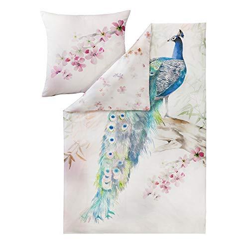 ESTELLA Bettwäsche Peacock | Multicolor | 135x200 + 80x80 cm | Mako-Satin mit seidigem Glanz | trocknerfest | atmungsaktiv und anschmiegsam | 100% Baumwolle