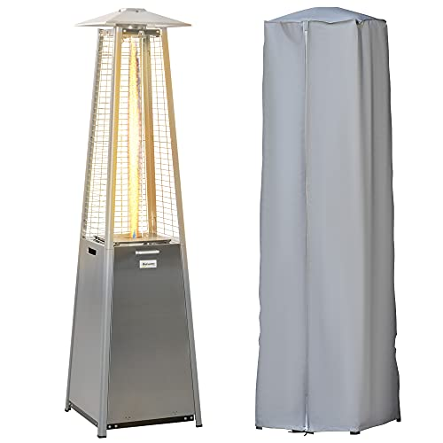 Outsunny 11.2KW Outdoor Patio Gas Heater Stainless Steel Pyramid Propane Heater Garden Freestanding Tower Heater with Wheels, Dust Cover, Regulator and Hose, Silver