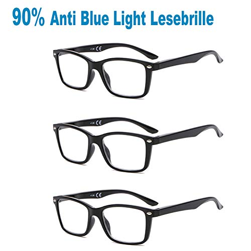 Suertree 90{6cfc7b1685ef109bd26fb4b9e25bcbc7f0720b3d4294f4aab43d18f49427e2bb} Anti Blue Light gafas de lectura 3 paquete ayuda visual gafas ópticas gafas de lectura para damas hombres BM151T 3.5X