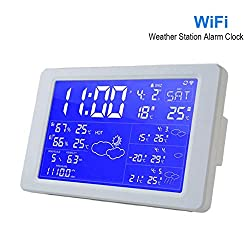 V.JUST WiFi Premium LED Snooze Alarm Clock with Backlight Calendar Weather Station Digital Clock Desktop Clock Support Bluetooth APP,White
