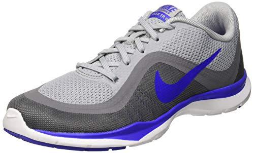 Nike Wmns Flex Trainer 6, Zapatillas Deportivas para Interior Mujer, Gris (Wolf Grey/Paramount Blue/Cool Grey), 38.5 EU