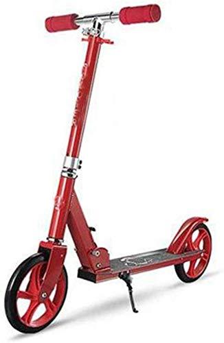 XLYYHZ Vespa f u r Adultos y Adolescentes, Ajustable del Retroceso del Vespa Plegable de Aluminio de Peso Ligero manijas del Estilo de Moto, f u r niños Mayores de 8 años, Rojo