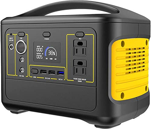 LILIS Portable Generator Portable Power Station 500W Portable Power Station Pure Sine Wave Solar Generator 153600mAh Lithium Battery Pack With AC/DC/USB QC3.0/Car Charger Ports