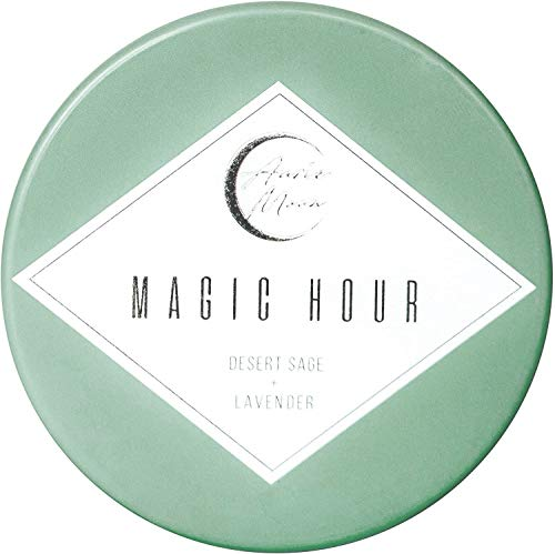Auric Moon | Desert Sage + Lavender Scented Luxury Soy Coconut Candle for Women | Slow 35+ Hour Burn | Relax & Detox Your Space | 5.5 Oz Metal Tin with Lid | Hand-Poured in California