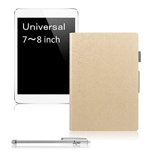 LOE 7-8インチ汎用 ユニバーサル タブレットケース 特別仕様 PUレザー + タッチペン付 (7-8インチ用 ゴールド)