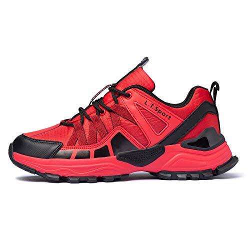FITORY Buty do biegania męskie do biegania Trail Running Buty sportowe amortyzacja Sneakers Outdoor Buty trekkingowe rozm. 40-47, czerwony - czerwony - 44 EU