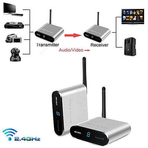 sat funkübertragung Measy AV240 Audio Video Sender 2.4G Wireless AV Sender IR-Fernbedienung für Wireless TV Sender(AV240-1330FT/IR)