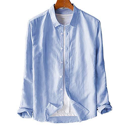 カジュアルシャツ リネンシャツ メンズ 長袖 無地 バンドカラーシャツ コットン 薄手 おしゃれ 折り襟 無地 春夏 通気吸湿(ライトブルー LL)