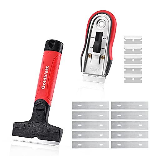 Goldblatt Razor Blade Scraper, 2-piece Razor Scraper Tool with 15-piece Blades, Wide & Short Blades for Decals, Stickers, Labels, Caulk, Adhesive, Paint Removal