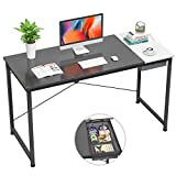 """Foxemart Computer Desk, 47"""" Modern Study Writing Desk for Home Office, Simple Laptop Table with Drawer, Black White"""