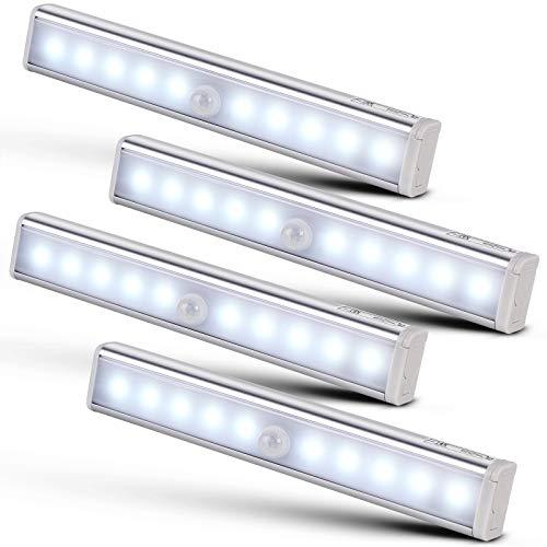 Monzana Lichtleiste 4er Set LED Bewegungsmelder kabellos Unterbauleuchte Schrankbeleuchtung Schrankleuchte Schranklicht