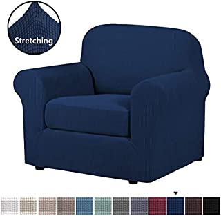 H.VERSAILTEX High Stretch 2-Piece Armchair Cover/Sofa Chair Covers/Slipcover Furniture Protector for Chairs, Made of Rich Textured Lycra Small Checks Knitted Jacquard Fabric (Chair, Navy)