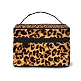 Bolsas de cosméticos Leopard Print Animal Skin Travel Cosmetic Case Organizer Portable Artist Storage Bag with,Built-in Pocket,Multifunction Case Toiletry Bags for Women Travel Daily