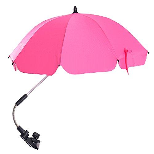 Einstellbar Baby Kinderwagen Sun Shade UV Regenschutz Umbrella Sonnenschirm mit Swivel Connector für Rollstuhl Kinderwagen Zubehör Pink