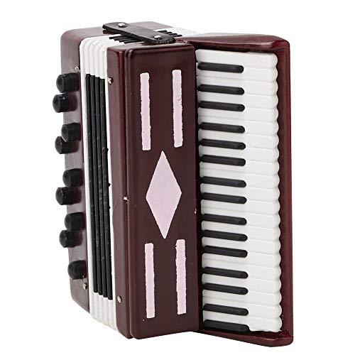 FTVOGUE Rotes Akkordeon Modell Miniatur Holz Instrumental Modell mit zarten Box Musikalisches Geschenk Kinder...