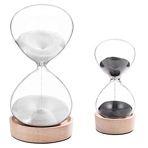 SuLiao 30 Minute Hourglass 5 Minute Sand Clock Timer Set:Sand Watch 30 Min,Mini Reloj De Arena 5 Minuto,Unique Wooden Base Half Hour Glass Sandglass for Wedding Home Desktop Office Decorative