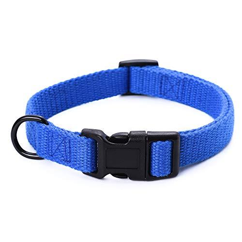Mile High Life Collar de Perro Colección Outdoor Simplicity Tela polialgodón Suave y Resistente (M, Azul )