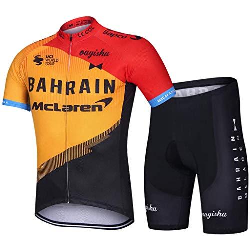 Gnaixyc Completo Bici Uomo, Abbigliamento Ciclismo Estivo Maglia Ciclismo Maniche Corte E Pantaloncini MTB con 3D Gel Cuscino Traspirante,Bahrain,XXL