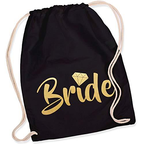 Shirt-Panda Turnbeutel JGA Team Bride/Team Bride mit Diamant Junggesellinnenabschied Team-Braut Tasche Rucksack Bride - Schwarz (Druck Gold)