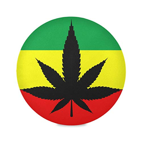 Pac Mac - Manteles individuales de marihuana, hojas de cáñamo, lavables, fáciles de limpiar, resistentes al calor, PVC, 39 x 39 cm, 6 unidades