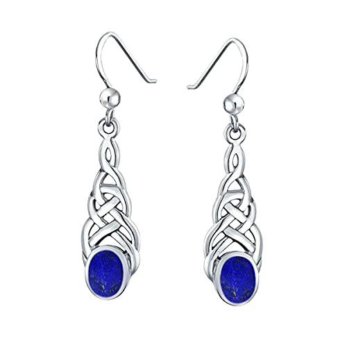 Gemsonclick Elegir tu color plata de ley creada o natural con piedras preciosas celtas, diseño de pendientes de gota lineal, joyería ovalada para mujeres y niñas, regalo de alambre de pescado azul