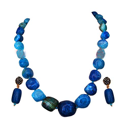 JewelryGift Bollywood Look Single Line Stone Beaded Strand Necklace with Drop Earrings Blue Onyx Jasper Haar Chain Mala Jewellery Set for Mother, Sister and Wife