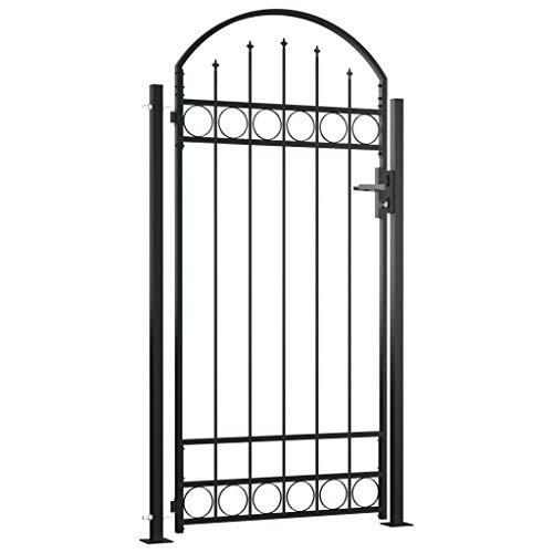 YVX Puerta de jardín Puerta con Techo arqueado y 2 Postes Barrera de Seguridad con 3 Llaves 100x200 cm Acero Negro