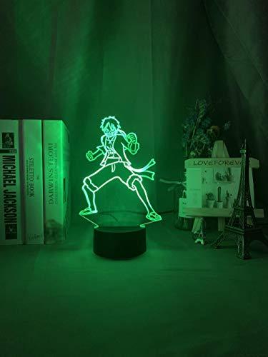 LED-Nachtlicht mit optischer Täuschung, Farbwechsel, Touch-Fernbedienung, 3D-Lampe, Affe D Luffy Figur Sensor für Kinderzimmer, Dekoration, coole Tischlampe, Anime-02