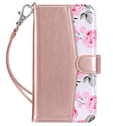 ULAK iPhone 11 Hülle, Premium Lederhülle Flip Cover Tasche Brieftasche Schutzhülle Magnet Handyhülle Standfunktion mit Kartenfächer case Kompatibel für iPhone 11 - Roségold