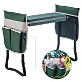 Deep Seat Garden Kneeler and Seat-Folding Garden Kneeler with 2 Ex-Large Tool Pouches-Gardener Foldable Bench Stool with Kneeling Pad Cushion-Gardening Bench