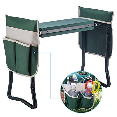 Deep Seat Garden Kneeler and Seat--Folding Garden Kneeler with 2 Ex-Large Tool Pouches--Gardener Foldable Bench Stool with Kneeling Pad Cushion,Gardening Bench,Detachable Belt