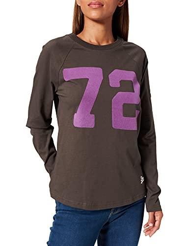 Superdry VL AC Raglan LS Top Camiseta, Negro Vintage, M para Mujer