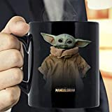 Baby Yoda Mandalorian Logo The Child Simple Portrait T-Shirt Coffee Mug - The Funny Coffee Mugs For Halloween, Holiday, Christmas Party Decoration 11-15 Ounce White Cettire