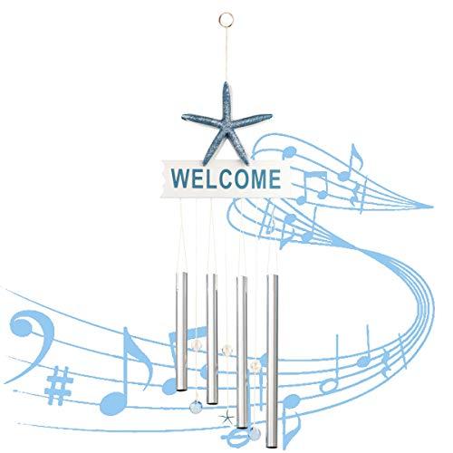 Fangoo 66 cm Windspiel Garten Klangspiel für Draußen Glockenspiel Windspiel mit Klare Stimme 4 Rohre Windspiel für Heimdekoration Geschenk Einfache Installation