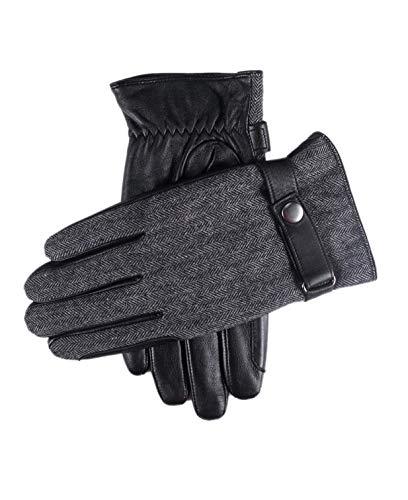 YISEVEN Herren Touchscreen Lammfell Lederhandschuhe Slim mit Warm Gefüttert Elegant Winter Leder Autofahrer Handschuhe, Schwarz Klein/8.5