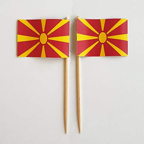 Buddel-Bini Party-Picker Flagge Mazedonien Papierfähnchen in Spitzenqualität 50 Stück Beutel