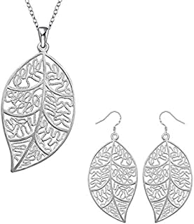 925 Sterling Silver Leaf Necklace and Earrings Set