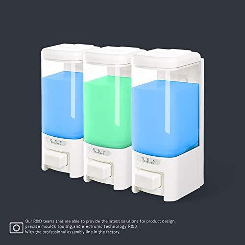 Badkameraccessoires Manual zeepdispenser Muur opknoping Hand wasmiddel box Keuken badkamer Vloeibare zeepkist Badkamer drie hoofd zeepdispenser (L68 * W276 * H195mm)