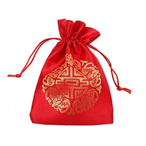 Bolsa de regalo de Navidad para Año Nuevo con cordón hecho a mano de lino, color rojo, España, tamaño L